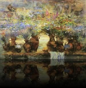 Цветы и кувшины. 130 x 190 холст, масло 2008