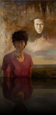 Автопортрет с маской. 107 x 80 холст, масло 1987