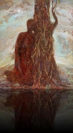 Целующий дерево. 85 x 70 холст, масло 1992