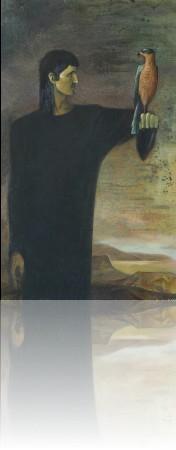 Человек с птицей. 150 x 88 холст, масло 1989