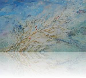 Ягоды.Зима. 90 x 150 холст, масло 2002