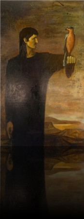 Человек с птицей. 150 x 88 1989