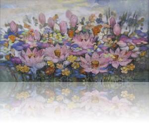Лотосы. 100 x 180 холст, масло 2010