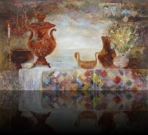 Семейный натюрморт. 110 x 180 холст, масло 2003