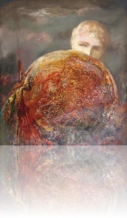 Уставший воин. 73 x 64 холст, масло 2001