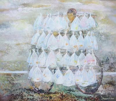 Продавец рыбок. 2012 Холст, масло 70Х80