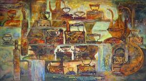 Утуги и кувшины. 100 x 180 холст, масло 2010