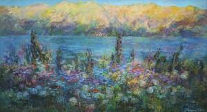 Черногория.Вечер. 60 x 110 холст, масло 2011