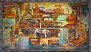 Утюги.Кувшины. 100 x 180 холст, масло 2010