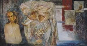 Молчание масок. 90 x 170 холст, масло