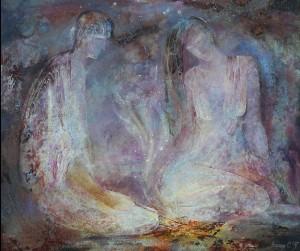 Разжигая костер. 77 x 92 холст, масло 1997